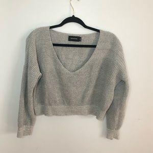 MINKPINK Oversized Cropped Deep V-Neck Sweater SM